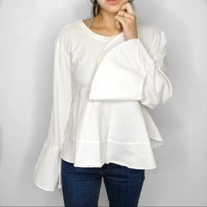 Anthropologie Eri + Ali White Pietra Peplum Top